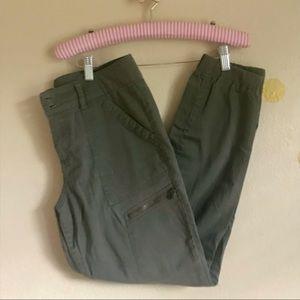 Matty M Green Cargo Pant. Gathered cuff.